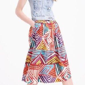J Crew Collection 8 Circle Skirt Geo Brushstroke